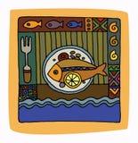 Restaurant menu design. Fish and sea Stock Photography