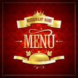 Restaurant menu design with golden ribbons and headline Royalty Free Stock Photography