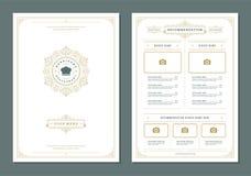 Restaurant menu design and label vector brochure template. Chef hat illustration and ornament decoration vector illustration