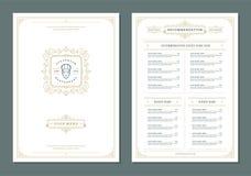 Restaurant menu design and label vector brochure template. Chef head illustration and ornament decoration vector illustration