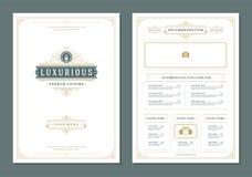 Restaurant menu design and label vector brochure template. Fork illustration and ornament decoration royalty free illustration