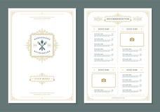 Restaurant menu design and label vector brochure template. Kitchen tools illustrations and ornament decoration vector illustration