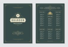 Restaurant menu design and label vector brochure template. Plate illustration and ornament decoration royalty free illustration