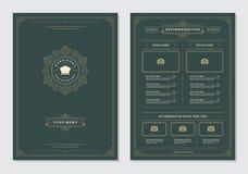 Restaurant menu design and label vector brochure template. Chef hat illustration and ornament decoration royalty free illustration
