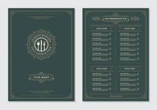 Restaurant menu design and label vector brochure template. Kitchen tools illustrations and ornament decoration stock illustration