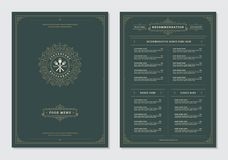 Restaurant menu design and label vector brochure template. Kitchen tools illustrations and ornament decoration royalty free illustration