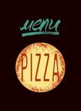 Restaurant menu design for pizza. Poster for pizzeria. Vector illustration. Stock Image