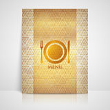 Restaurant menu design with a plate, a fork and a knife Royalty Free Stock Images