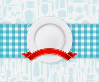 Restaurant menu design with plate and ribbon Royalty Free Stock Photography