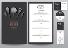 Restaurant menu design set, desing on black background Royalty Free Stock Image