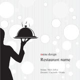 Restaurant menu design. With the silhouette. Of the girl's waiter Vector Illustration