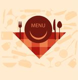 restaurant menu design with smiley on plate Royalty Free Stock Photography