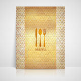 Restaurant menu design with a spoon, a fork and a knife Royalty Free Stock Images