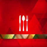 Restaurant menu design with spoon, fork and knife Stock Photo