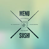 Restaurant menu design for sushi on blurry background. Vector illustration. Royalty Free Stock Photos