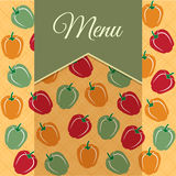 Restaurant menu design with sweet peppers Stock Photos