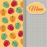 Restaurant menu design with sweet peppers Stock Images