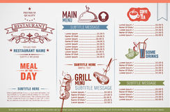 Restaurant menu design. And template Stock Image