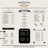 Restaurant Menu Design Template layout with icons and emblem royalty free stock photos