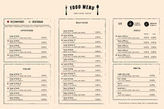 Restaurant Menu Design Template layout with logo Royalty Free Stock Photos