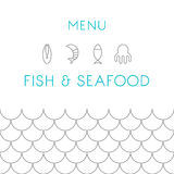 Restaurant menu design template. Seafood. Vector Stock Image