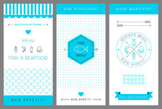 Restaurant menu design template. Seafood. Vector Royalty Free Stock Photos