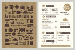 Restaurant menu design template Royalty Free Stock Photos