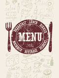 Restaurant menu design. Typographical retro poster with stamp and hand-drawn food. Vector illustration. Stock Image