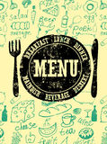 Restaurant menu design. Typographical retro poster with stamp and hand-drawn food. Vector illustration. Royalty Free Stock Image