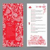 Restaurant menu design with vintage label Royalty Free Stock Photo