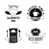 Restaurant menu emblems set Stock Images