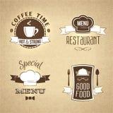 Restaurant menu emblems set textured Royalty Free Stock Photography