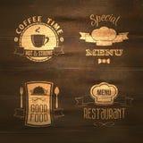 Restaurant menu emblems set wooden Royalty Free Stock Photos