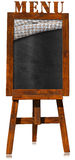 Restaurant Menu - Empty Blackboard on a Easel. 3D illustration of an empty blackboard with wooden frame, checkered tablecloth and text Menu on a wooden easel Stock Image