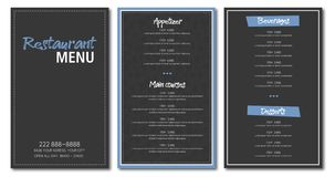 Restaurant menu flyer template design royalty free stock photography