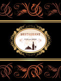 Restaurant menu. Food and drinks. Title page for design stock image