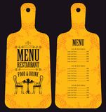 Restaurant menu in form of wooden cutting board Stock Photo
