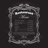 Restaurant menu frame blackboard vintage hand drawn retro Stock Images