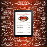 Restaurant menu with grill hand drawn doodle elements and tablet Royalty Free Stock Images