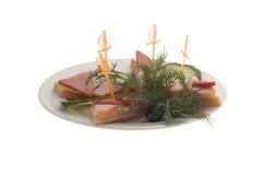 Restaurant menu: ham sandwich. Isolated royalty free stock photography