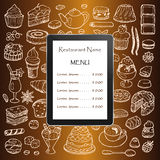 Restaurant menu with hand drawn doodle elements and tablet computer Stock Images