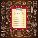 Restaurant menu with hand drawn doodle elements Royalty Free Stock Image