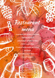 Restaurant menu, hand drawn food and drink, bar design template Royalty Free Stock Photo