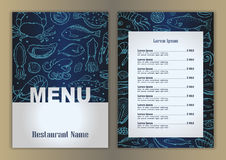 Restaurant menu with hand drawn seafood doodle elements. Vector illustration with hand drawn seafood elements for banners, posters, fliers, web design royalty free illustration