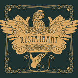 Restaurant menu with the hand, tray and chicken. Vector restaurant menu with a picture of a hand with a tray on which is a chicken in an Art Nouveau style with a stock illustration