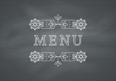 Restaurant Menu Headline with Chalkboard Royalty Free Stock Images