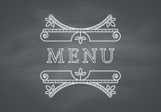 Restaurant Menu Headline with Chalkboard Stock Photos