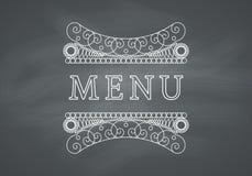 Restaurant Menu Headline with Chalkboard Stock Image