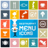 Restaurant Menu Icons Set Stock Images
