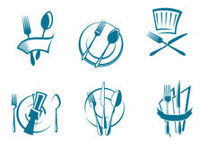 Restaurant menu icons and symbols Royalty Free Stock Image